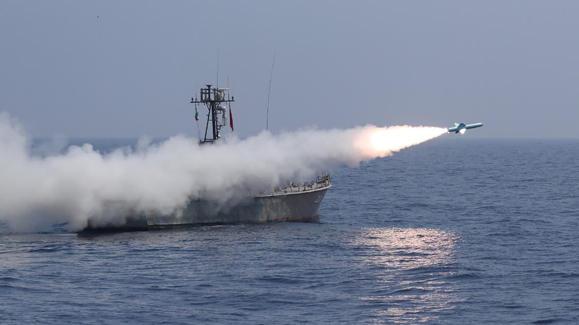 A missile is launched by Iran's military during a navy exercise in the Gulf of Oman. (Reuters)