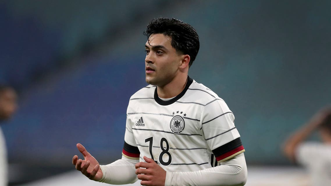 Germany's Nadiem Amiri during a friendly soccer match between Leipzig, Germany, Wednesday, Nov. 11, 2020. (AP Photo/Michael Sohn)