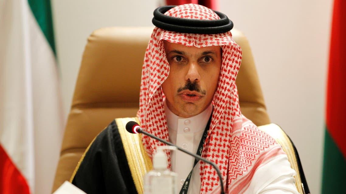Saudi Arabia's Foreign Minister Prince Faisal bin Farhan Al Saud speaks during a news conference at the Gulf Cooperation Council's (GCC) 41st Summit in Al-Ula, Saudi Arabia January 5, 2021. REUTERS/Ahmed Yosri