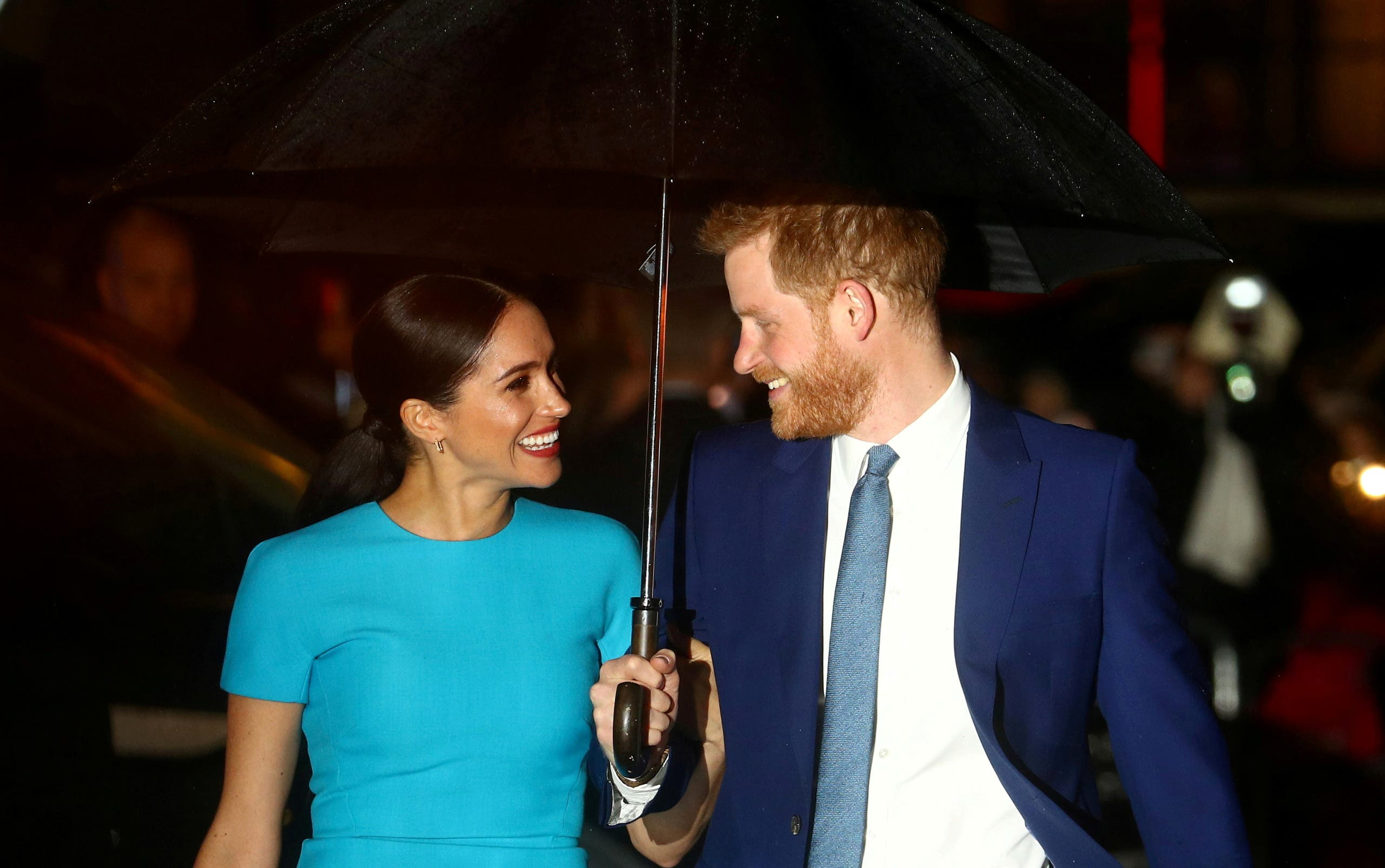 Britain's Prince Harry and his wife Meghan, Duchess of Sussex, arrive at the Endeavour Fund Awards in London, Britain, March 5, 2020. (Reuters)