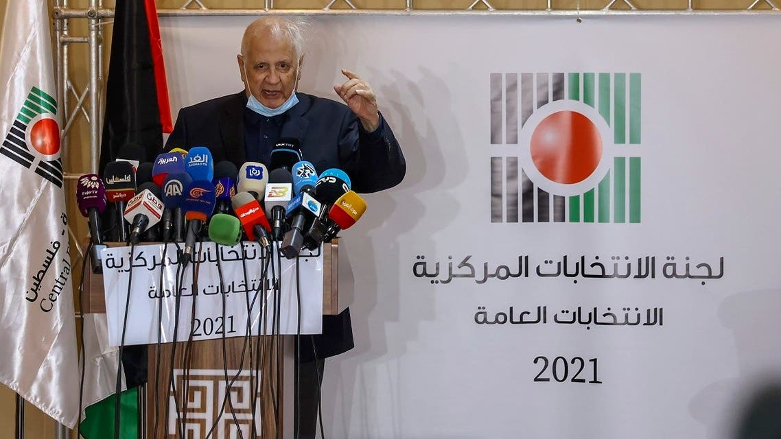Hanna Nasir, head of the Palestinian Central Election Commission, gives a press conference in the West Bank city of Ramallah, on January 16, 2021. (Ahmad Gharabli/AFP)