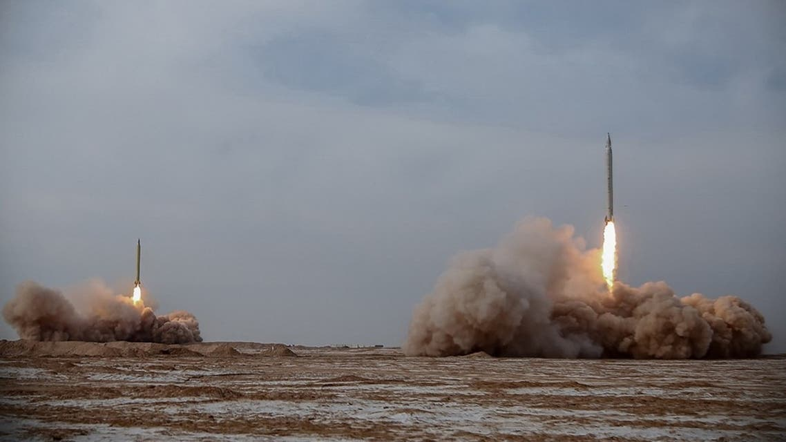 This handout photo provided on January 15, 2021, shows a missile ready to be launched during a military drill in an unknown location in central Iran. (AFP)
