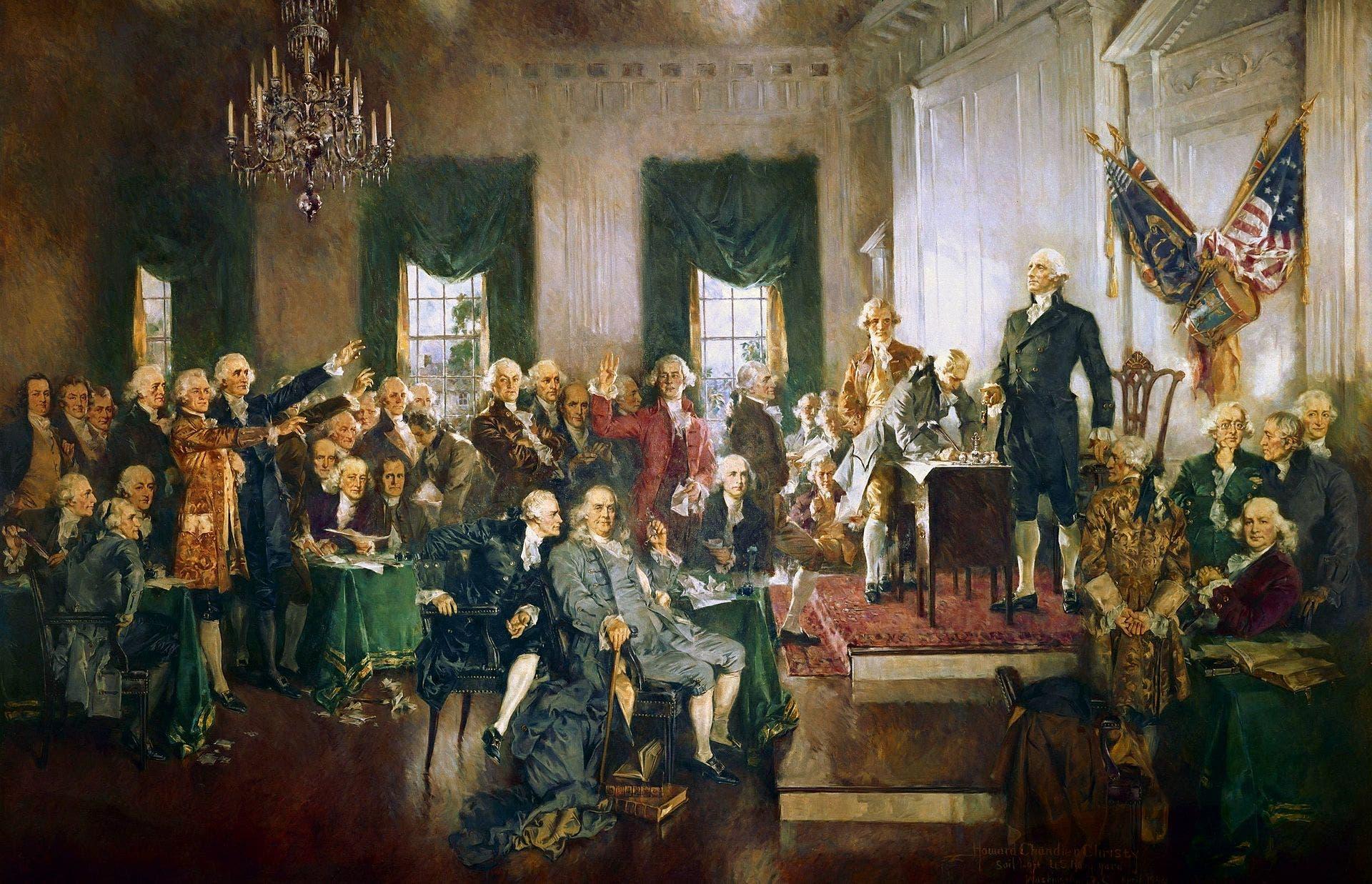 لوحة تجسد توقيع دستور الولايات المتحدة الأميركية