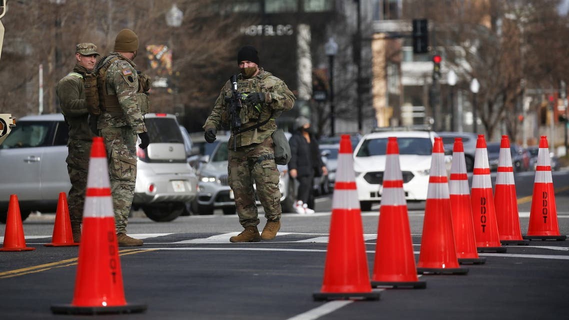 Members of the National Guard secure the area near the Capitol for possible protest ahead of U.S. President-elect Joe Biden's inauguration, in Washington, U.S., January 16, 2021. REUTERS/Eduardo Munoz