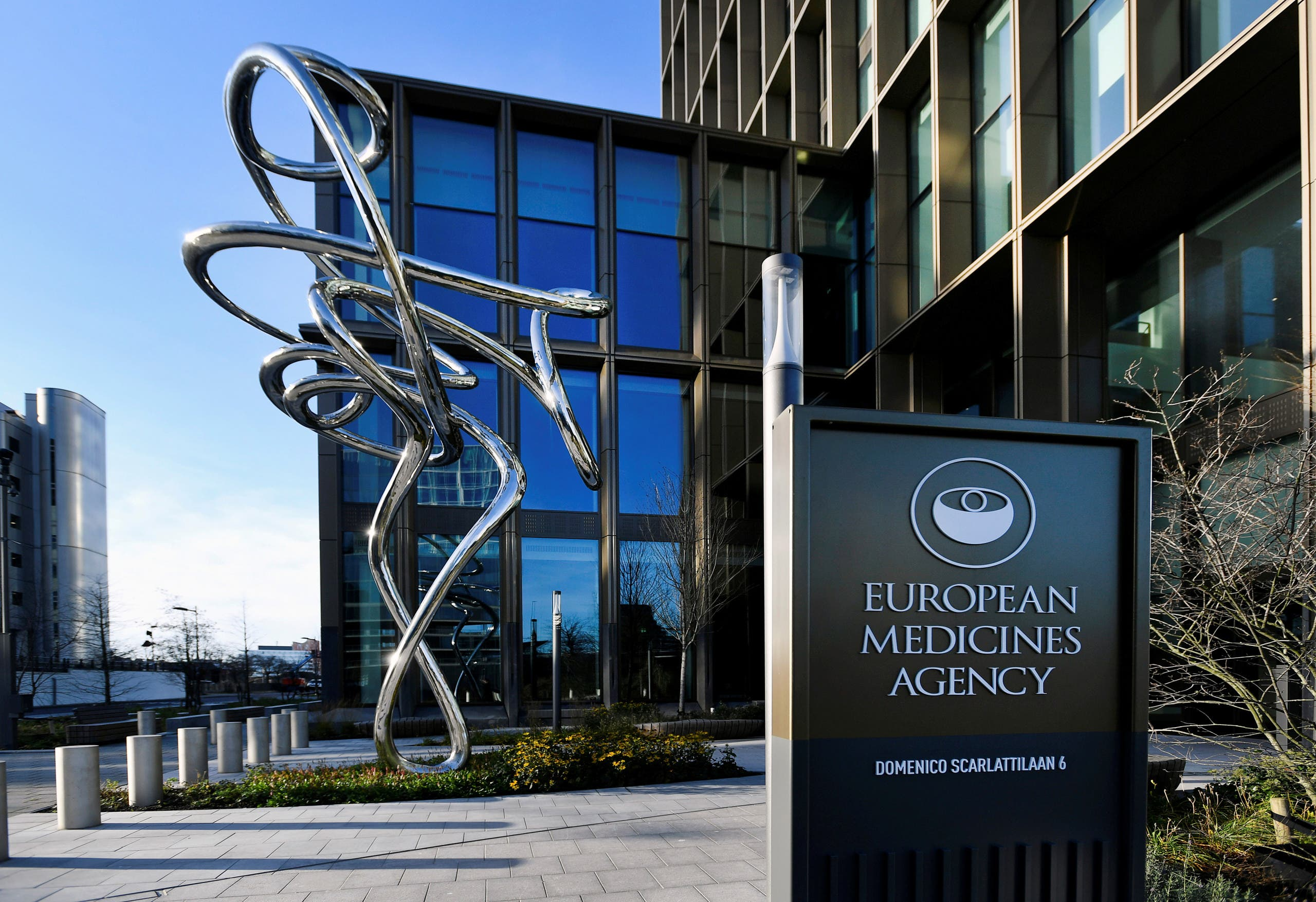 The exterior of EMA, European Medicines Agency is seen in Amsterdam, Netherlands December 18, 2020. (Reuters)