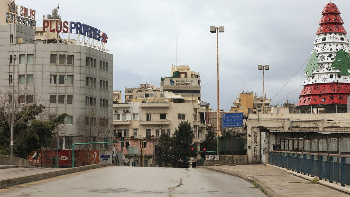 A view shows empty road as Lebanon tightened lockdown and introduced a 24-hour curfew to curb the spread the coronavirus disease (COVID-19) in Beirut. (Reuters)