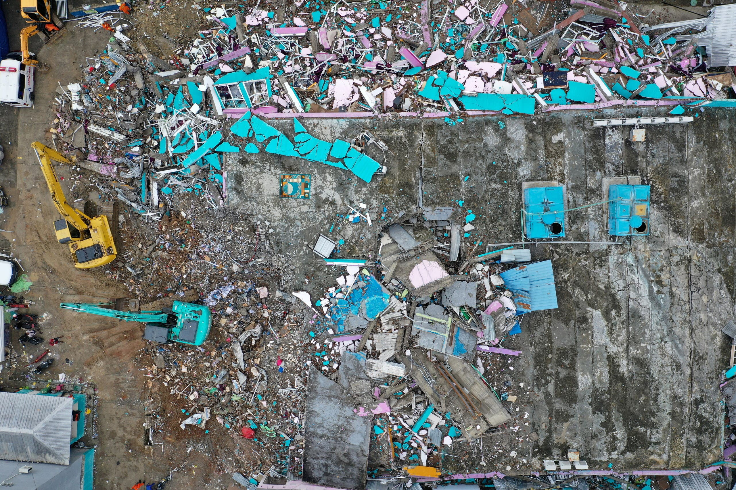 An aerial picture shows a hospital building collapsed following an earthquake in Mamuju. (Reuters)