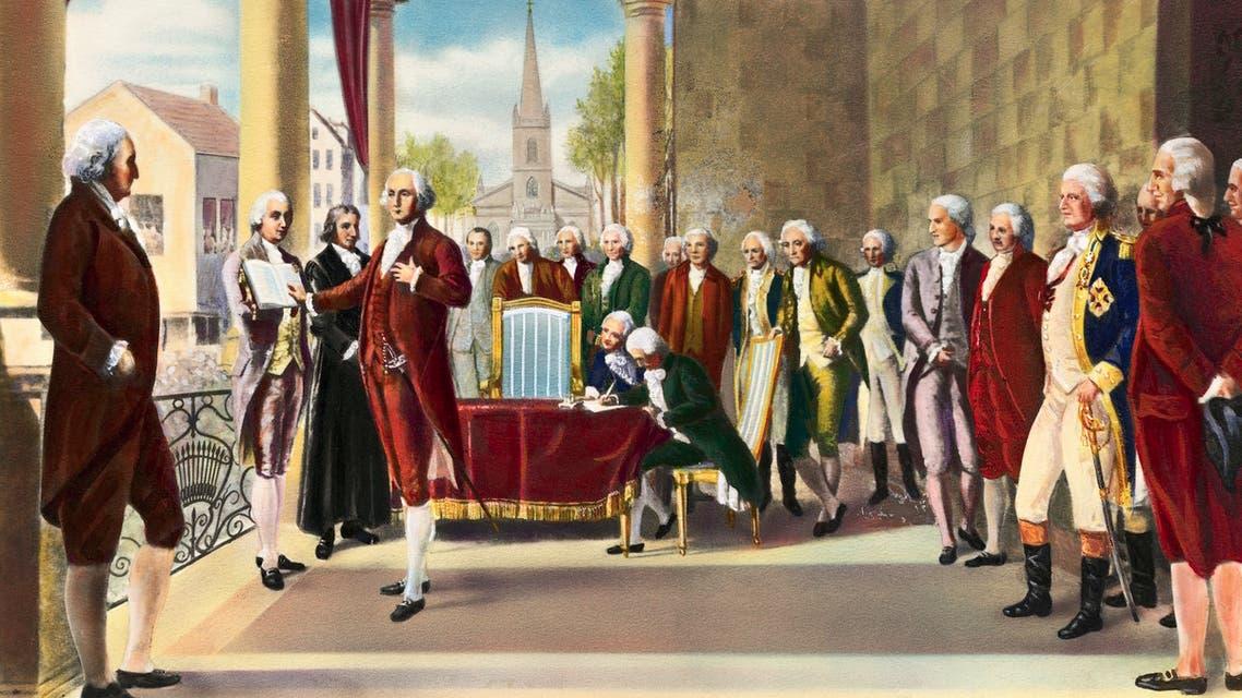 لوحة تجسد مراسم تنصيب جورج واشنطن