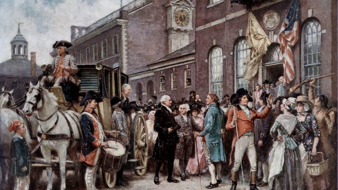 لوحة تجسد جورج واشنطن بفيلادلفيا استعدادا لحفل التنصيب