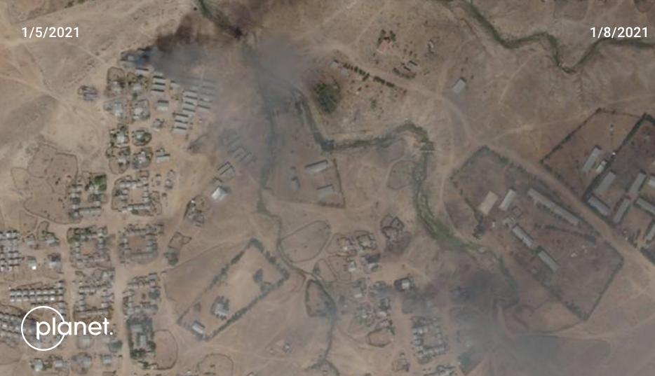 آثار الحرائق في مخيم شيميلبا بإقليم تيغراي