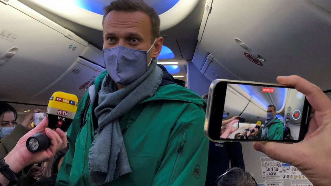 Document Date: 17 January, 2021 Russian opposition leader Alexei Navalny is seen on board a plane before the departure for the Russian capital Moscow at an airport in Berlin, Germany January 17, 2021. REUTERS/Polina Ivanova TPX IMAGES OF THE DAY
