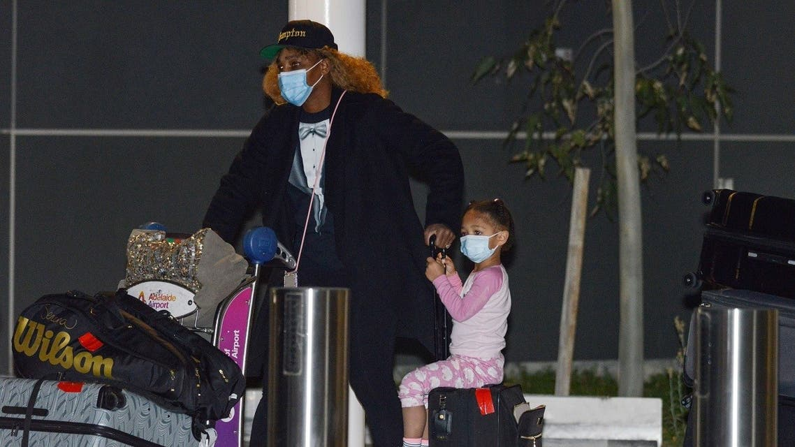 American tennis player Serena Williams and her daughter Alexis Olympia Ohanian Jr. arrive before heading straight to quarantine for two weeks isolation ahead of her Australian Open. (AFP)