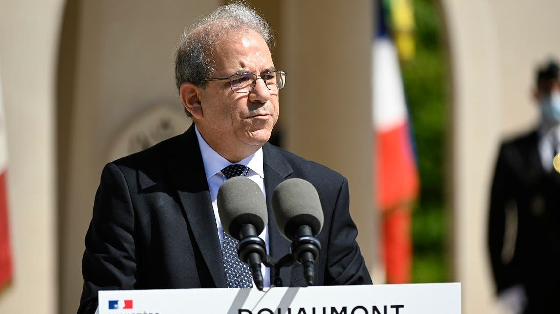 A file photo shows Mohammed Moussaoui, President of the French Council of the Muslim Faith (CFCM) gives a speech during a ceremony at the WW1 memorial in Douaumont, northeastern France on July 29, 2020. (Jean-Christophe Verhaegen/AFP)