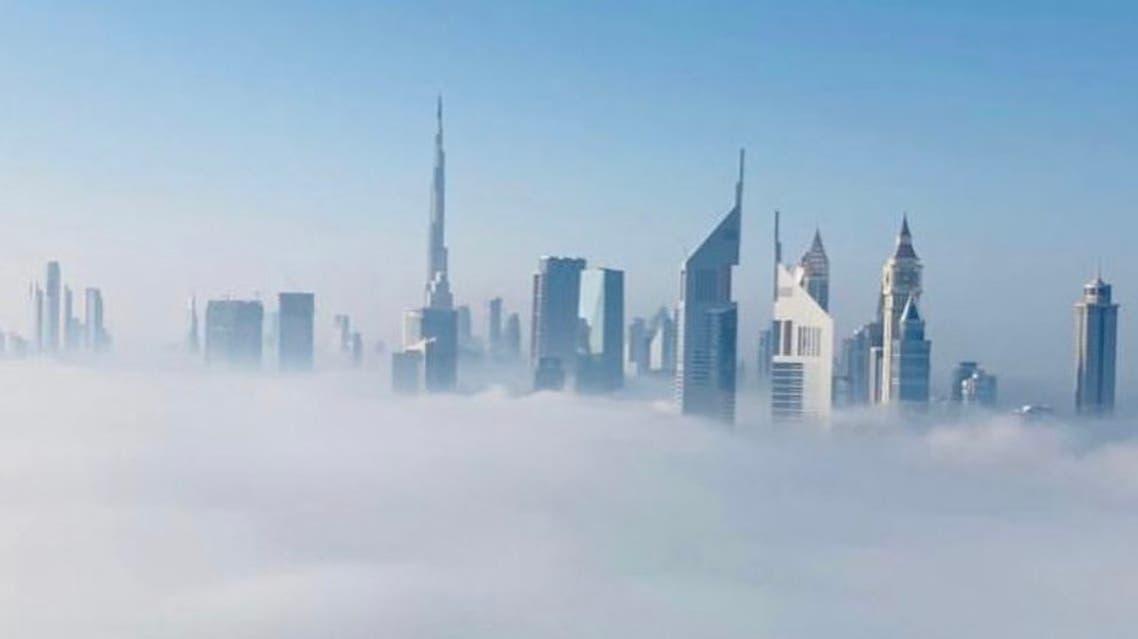 "Dubai Media Office shared photos of the fog that ""blanketed the Dubai skyline this morning."" (Via @jimmymanalel Instagram)"