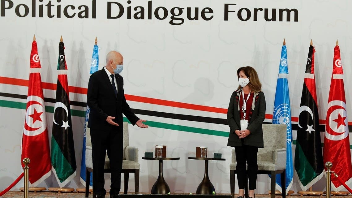 Tunisia's President Kais Saied welcomes Deputy Special Representative of the UN Secretary-General for Political Affairs in Libya Stephanie Williams during the Libyan Political Dialogue Forum in Tunis. (File photo: Reuters)