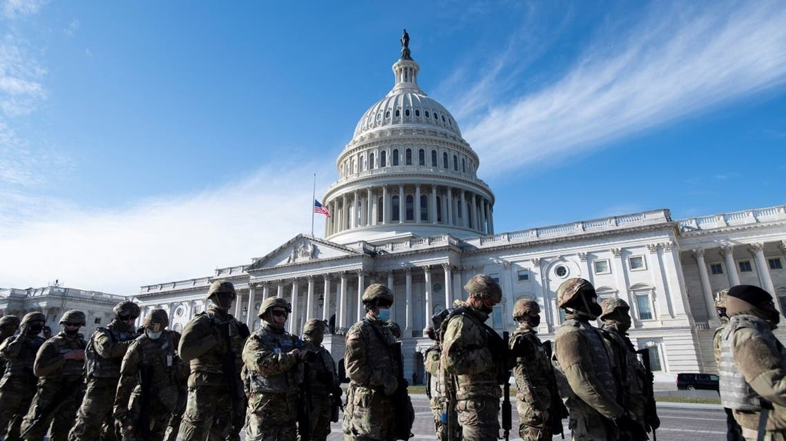 Members of the US National Guard arrive, as the Capitol goes into lockdown during the dress rehearsal ahead of President-elect Joe Biden's inauguration in Washington, Jan. 18, 2021. (Reuters)
