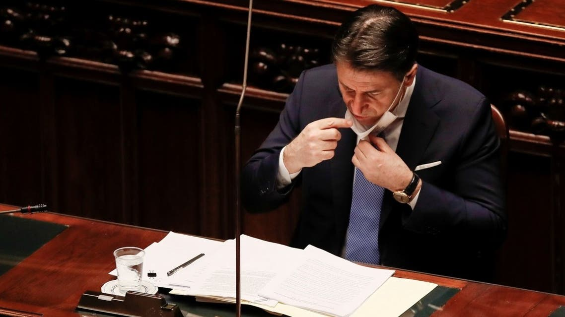 Italy's Prime Minister Giuseppe Conte delivers a speech at the lower chamber of Parliament, in Rome, Italy, on January 18, 2021. (Reuters)