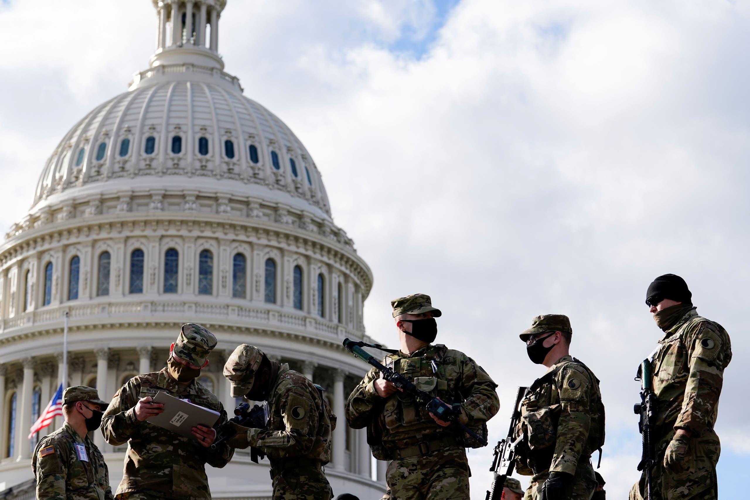 گارد ملی واشنگتن در حال آماده سازی برای مراسم تحلیف بایدن (بایگانی رویترز)