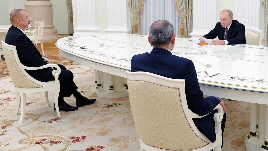 Russia's President Vladimir Putin meets with Azerbaijan's President Ilham Aliyev and Armenia's PM Nikol Pashinyan to discuss the implementation of the ceasefire over Nagorno-Karabakh, Jan.11, 2021. (Reuters)
