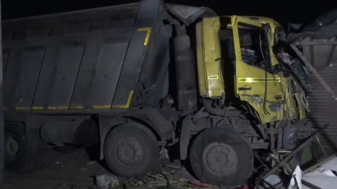 Dump truck loses control and kills 15 people in India, January 19, 2021. (Twitter)