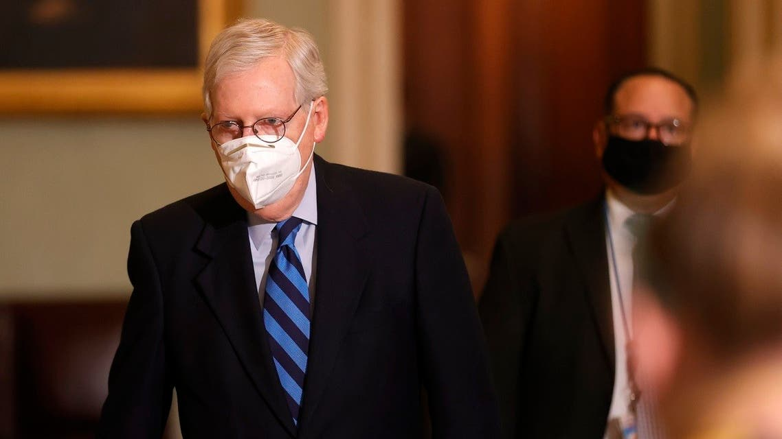 Senate Majority Leader Mitch McConnell leaves the Senate chamber on Jan. 19, 2021 in Washington, DC. (AFP)