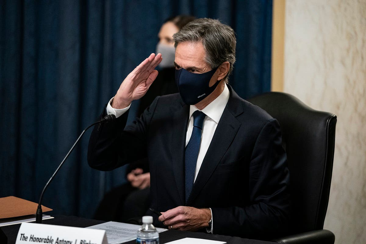 Antony Blinken, salutes Senators as he arrives prior to his confirmation hearing to be Secretary of State before the US Senate Foreign Relations Committee, Jan. 19, 2021. (AFP)