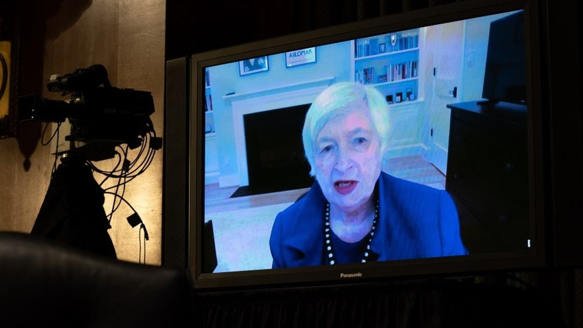 Janet Yellen, President-elect Joe Biden's nominee for Secretary of the Treasury, participates remotely in a Senate Finance Committee hearing on Jan. 19, 2021. (AFP)