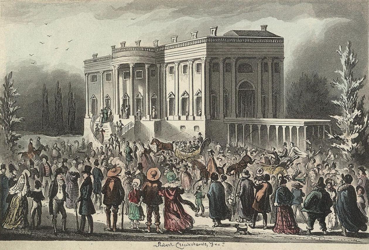 لوحة تجسد الجماهير أمام البيت الأبيض يوم 4 آذار مارس 1829