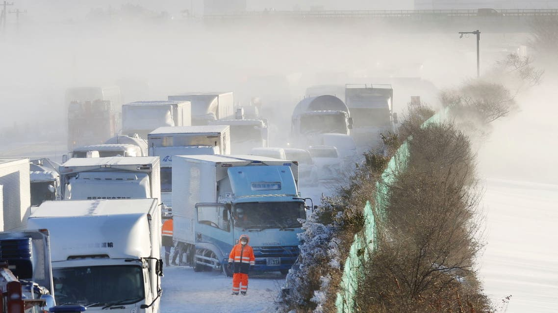 Car accidents on a Japanese highway due to heavy snow on 19 January, 2021. (AP)