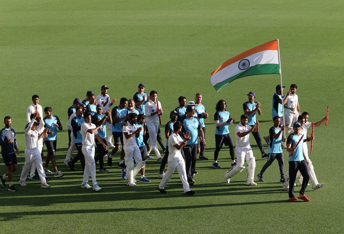 The victorious Indian team take a round of the stadium after  winning on day five of the fourth test match between Australia and India at the Gabba in Brisbane, Australia, on January 19, 2021. (Reuters)