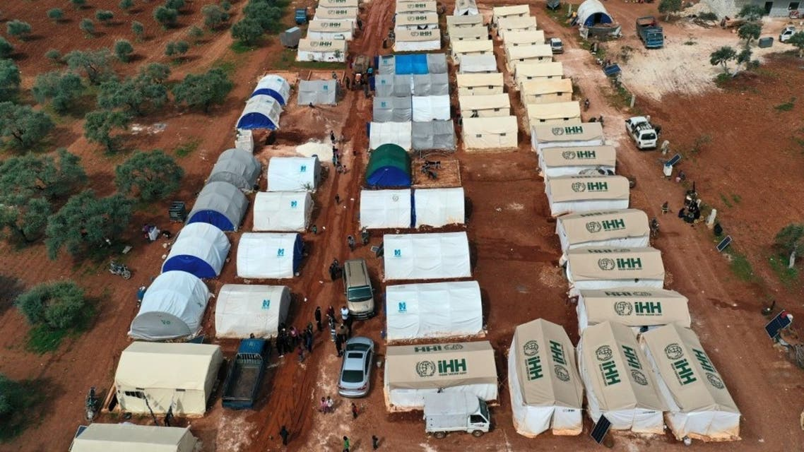 This picture taken on April 5, 2020 shows an aerial view of a camp for displaced Syrians from Idlib and Aleppo provinces, near the town of Maaret Misrin in Syria's northwestern Idlib province. (AFP)