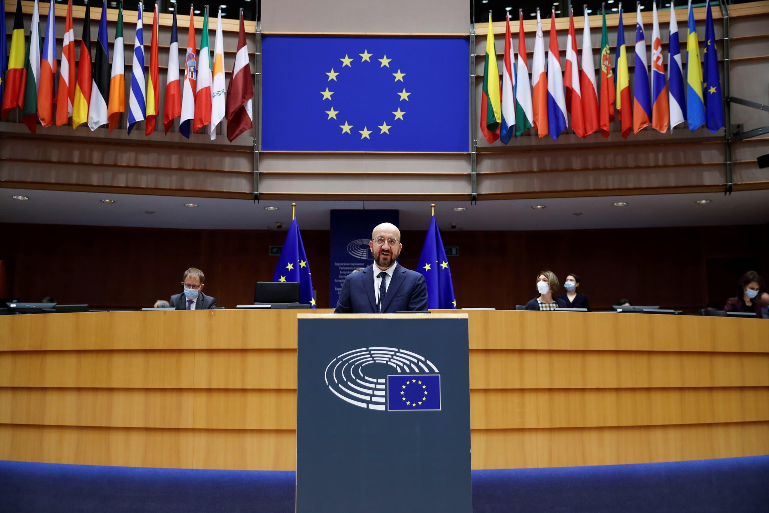 چارلز میشل در پارلمان اروپا سخنرانی می کند