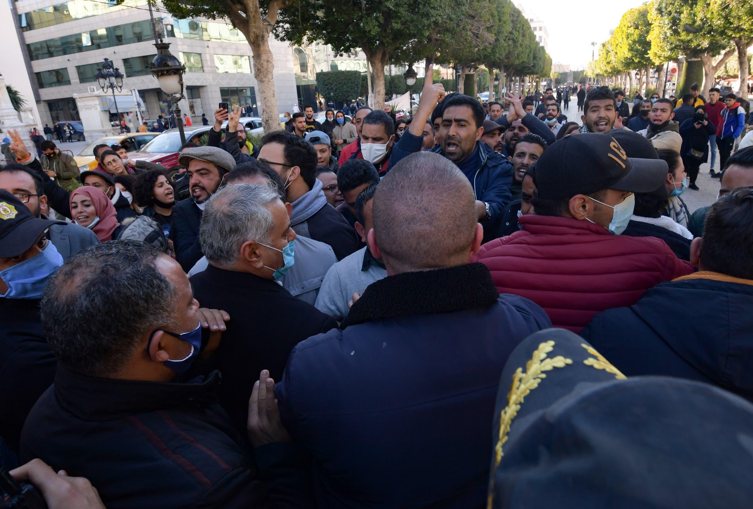 من الاحتجاجاجت الأربعاء في العاصمة تونس