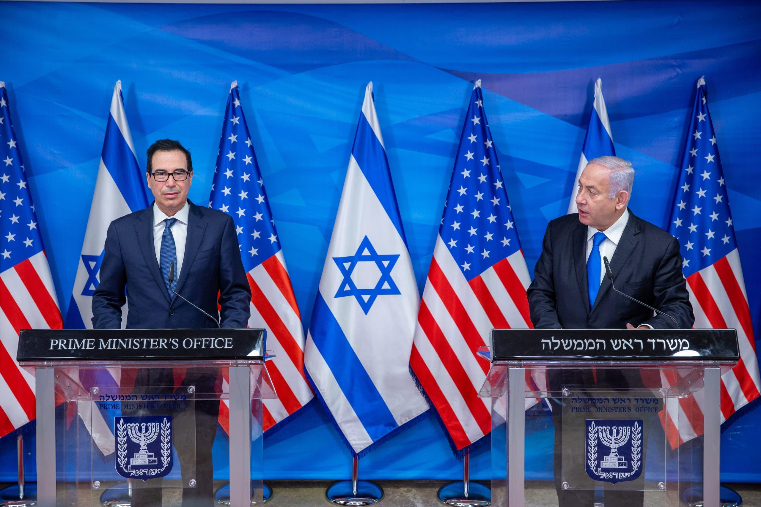 نتنياهو في مؤتمر صحافي في 7 يناير الجاري في القدس مع وزير الخزانة الأميركية
