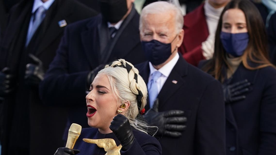 Lady Gaga leaves after singing the National Anthem at the inauguration of Joe Biden as the 46th President of the United States on the West Front of the U.S. Capitol in Washington, U.S., January 20, 2021. Tasos Katopodis/Pool via REUTERS