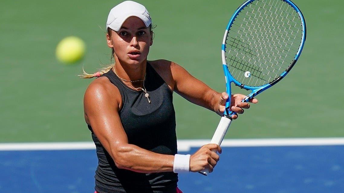 Yulia Putintseva, of Kazakhstan, returns a shot to Jennifer Brady, of the United States, during the quarterfinals of the US Open tennis championships. (AP)