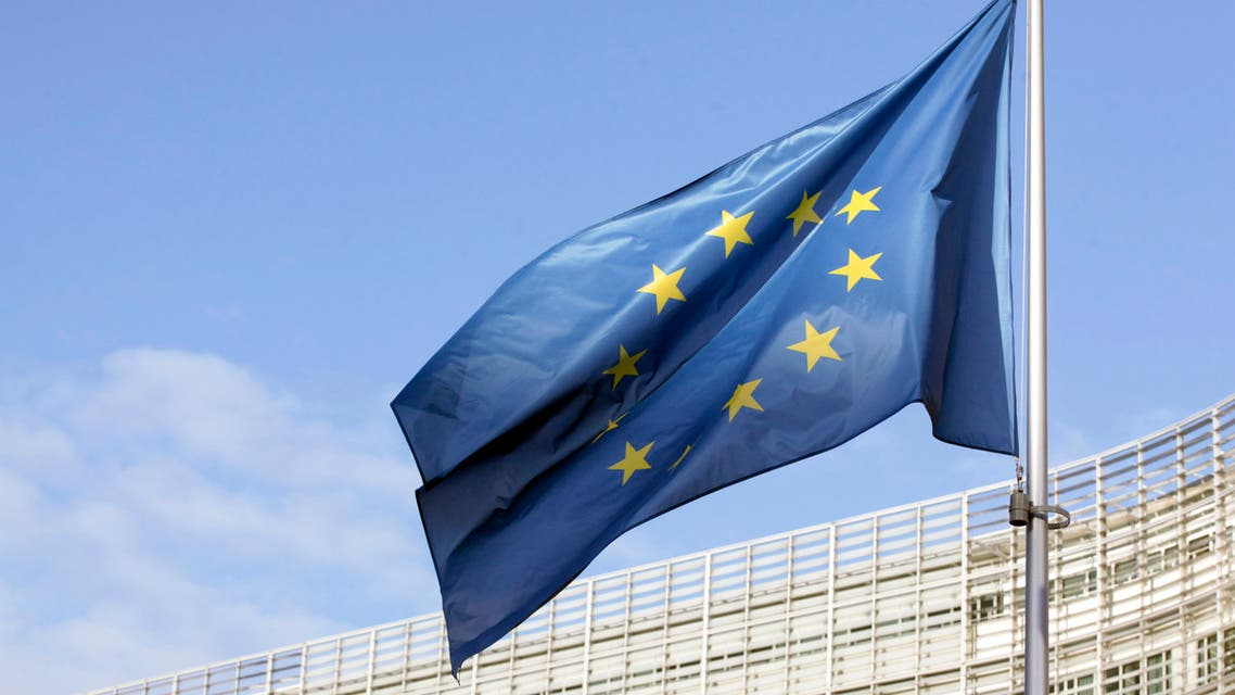 A flag of the European Union can be seen fluttering outside the European commission headquarters in Brussels. (AFP)