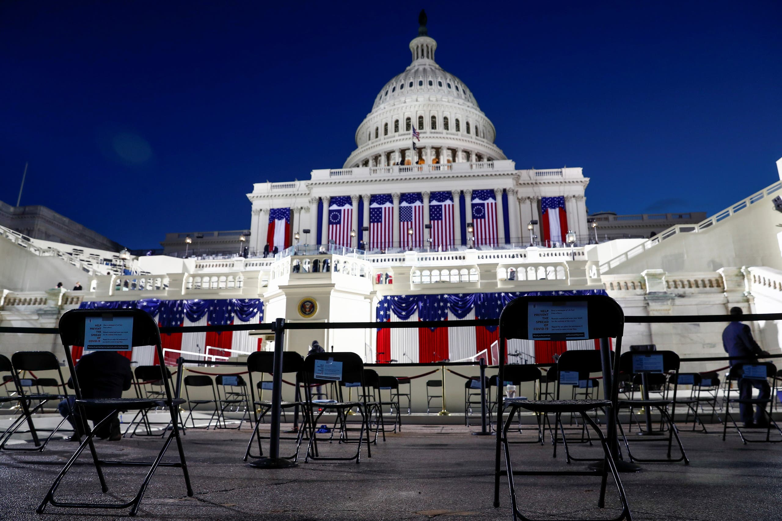 Socially distanced seating is seen on the West front of the Capitol before Joe Biden's presidential inauguration in Washington. (Reuters)