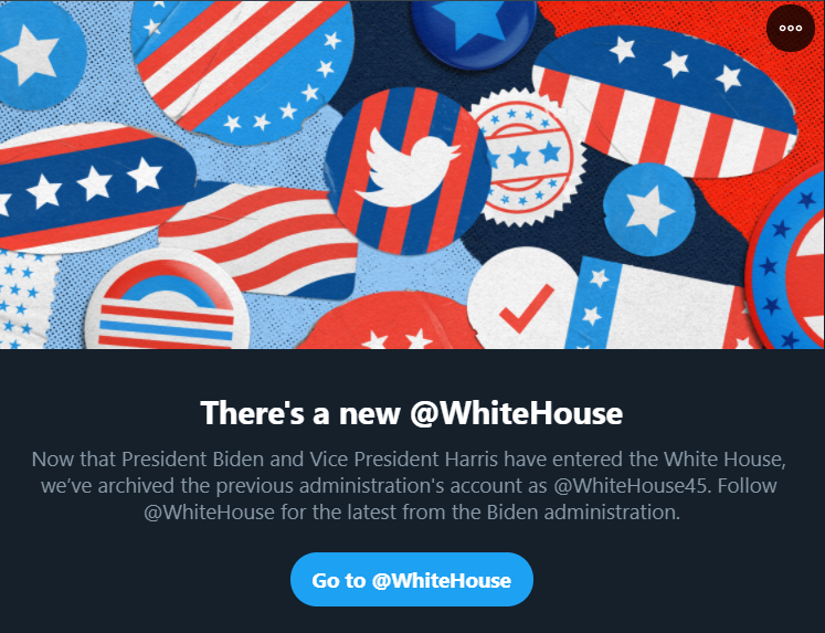 Twitter announces the new handle for the US President. (Screengrab)