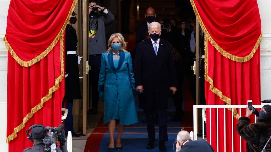 President-elect Joe Biden and his wife Jill Biden arrive for the inauguration of Joe Biden as the 46th President of the United States, Jan. 20, 2021. (Reuters)