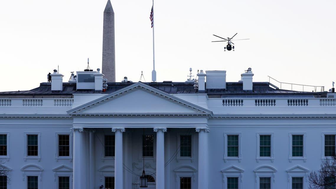 U.S. President Donald Trump departs the White House aboard Marine One ahead of the inauguration of President-elect Joe Biden, in Washington, U.S., January 20, 2021. REUTERS/Andrew Kelly