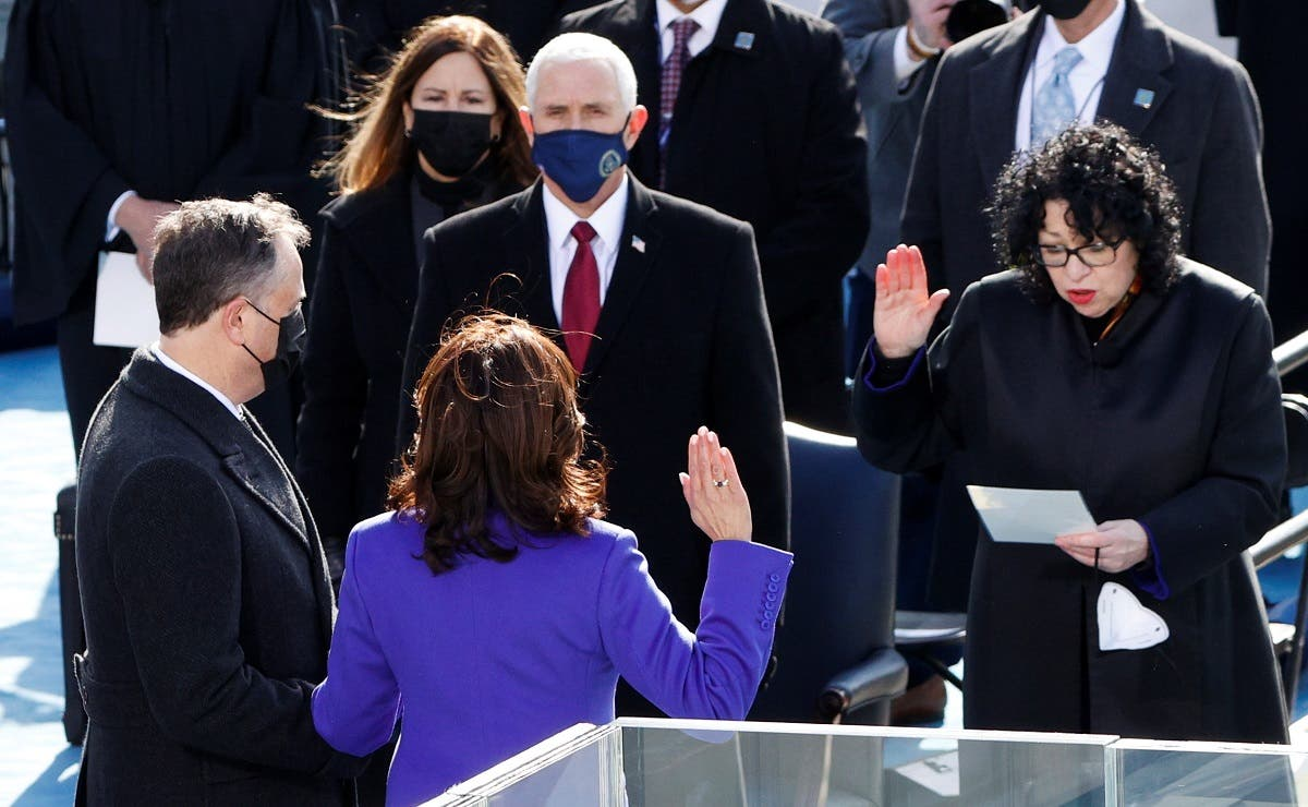 US Vice President Kamala Harris during the swearing-in ceremony, Jan. 20, 2021. (Reuters)