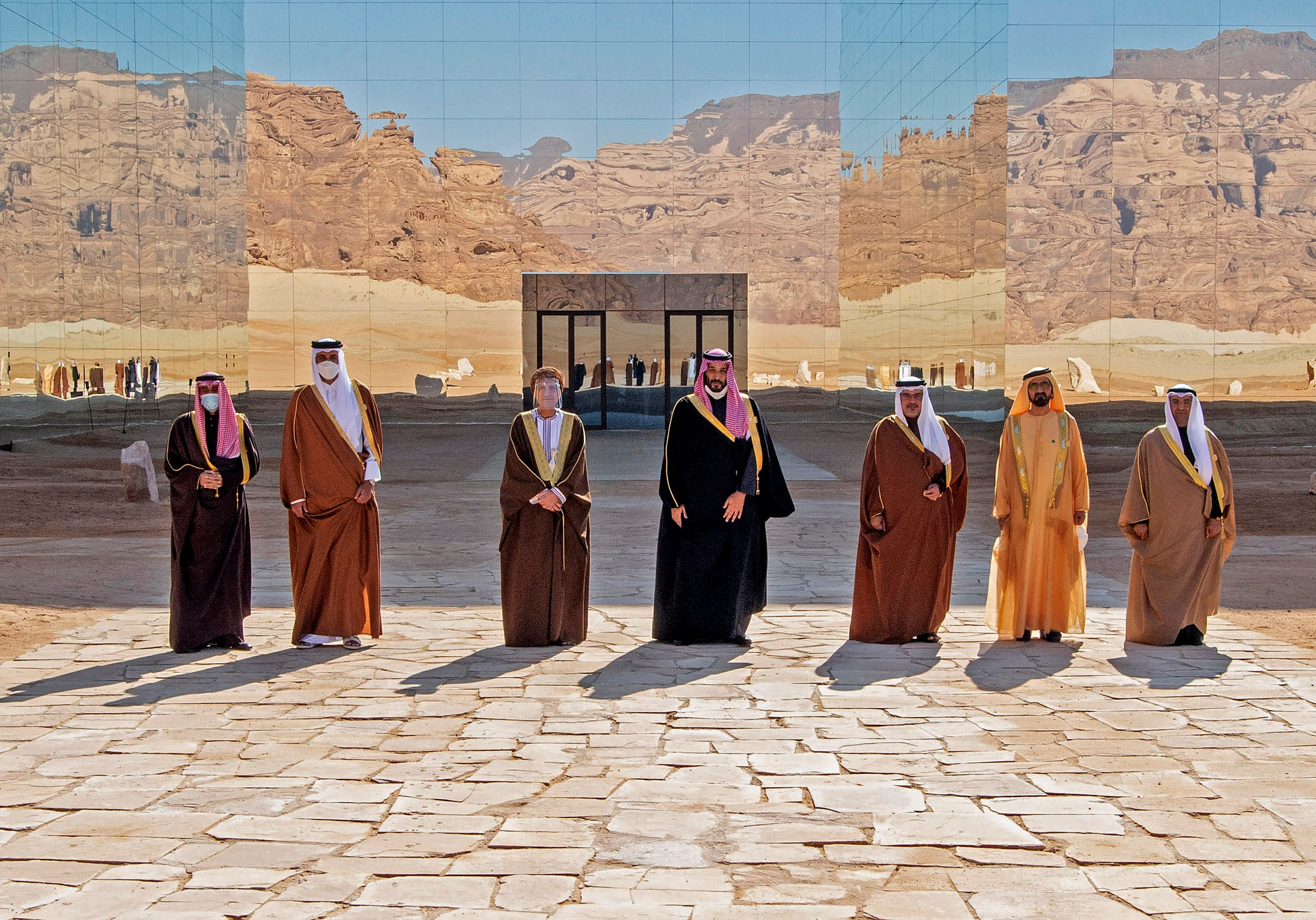 A handout picture provided by the Saudi Royal Palace on January 5, 2021, show Gulf leaders at the 41st GCC summit in the Saudi city of al-Ula.