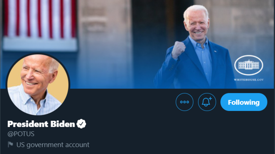 President Joe Biden's Twitter account. (Screengrab)