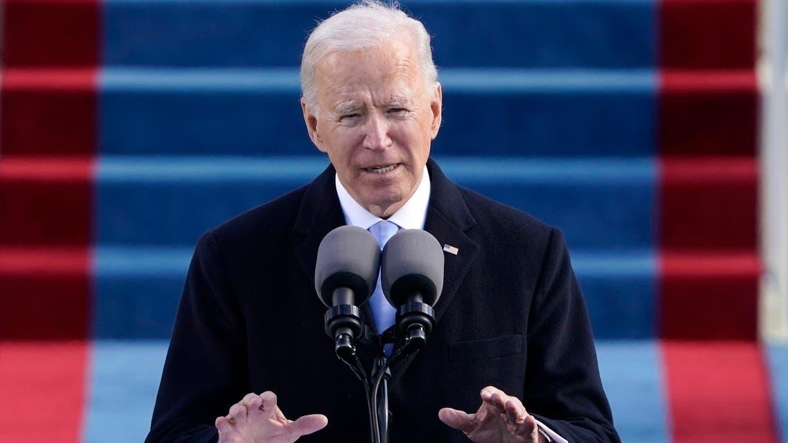President Joe Biden speaks during at the Capitol in Washington, Jan. 20, 2021. (AP)