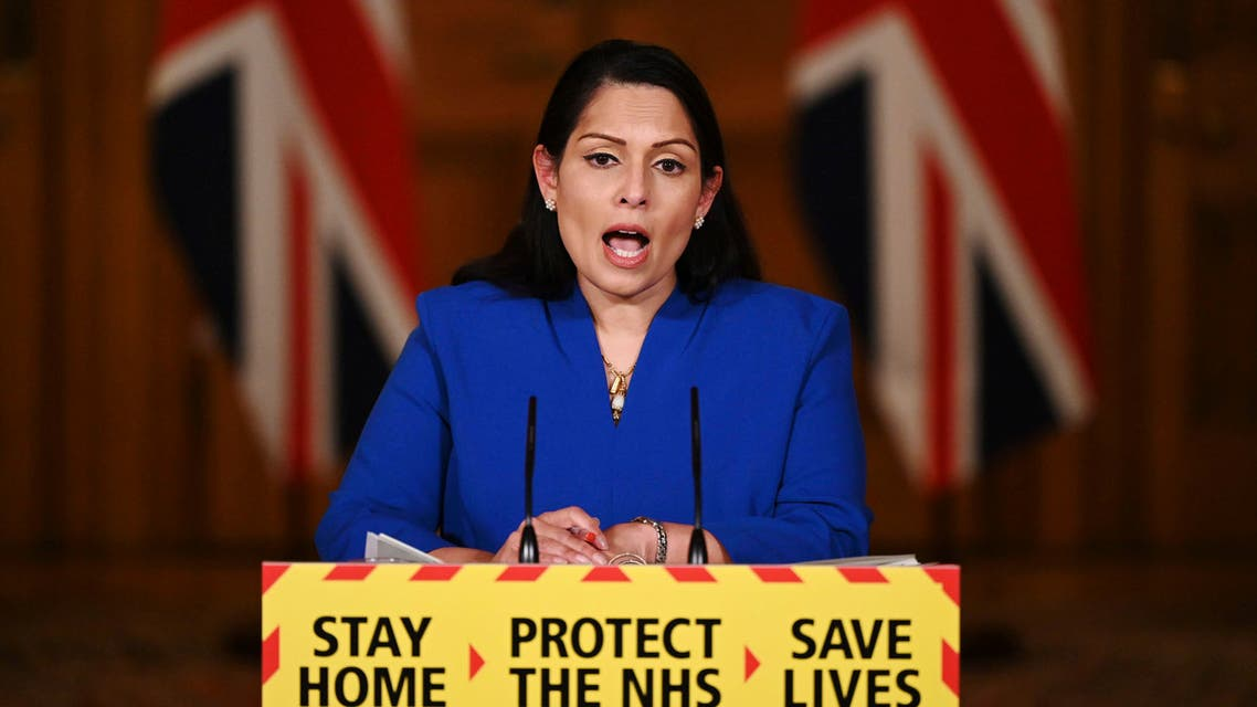 Britain's Home Secretary Priti Patel speaks during a media briefing on the COVID-19 pandemic, in Downing Street, London. (AP)