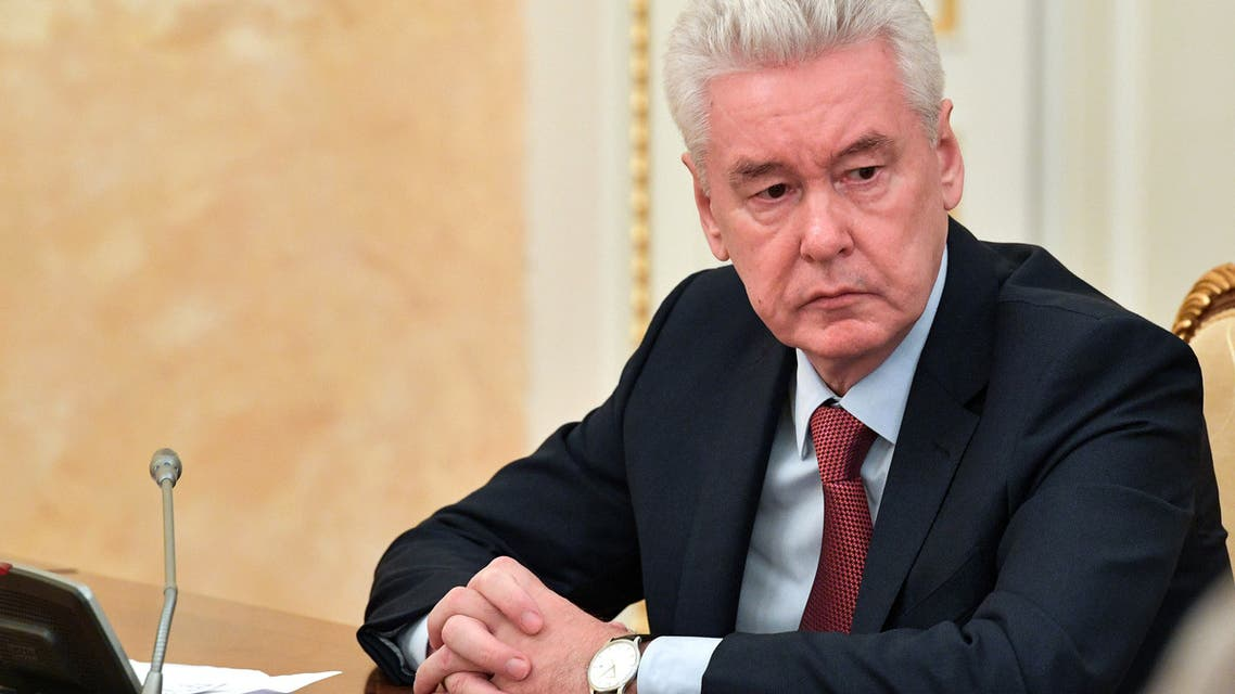 Moscow's Mayor Sergei Sobyanin attends a government meeting on the containment of the COVID-19, the disease caused by the novel coronavirus in Moscow. (AFP)
