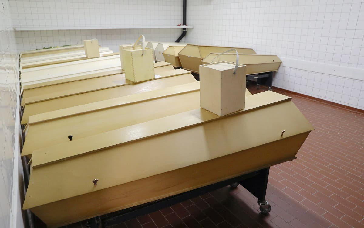 Coffins of people who passed away are seen in a cold room of the Crematorium Nordheim as the coronavirus continues in Zurich, Switzerland, on January 19, 2021. (Reuters)