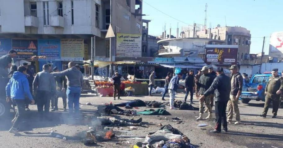 من موقع التفجير وسط بغداد