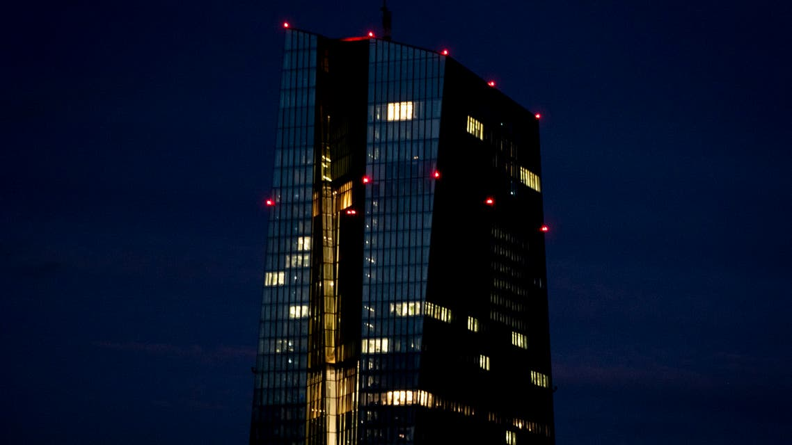Office lights of the European Central Bank in Frankfurt, Germany, Wednesday, Jan. 13, 2021. (AP)